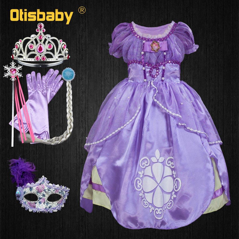 Robe Sofia pour filles | Robe de nouvel an, Costume de princesse Sophia à paillettes, tenue de fête d'halloween Cosplay, pour enfants, carnaval, manches courtes