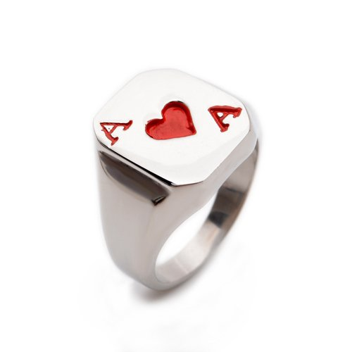 Red Poker Playing Card Stainless Steel Mens Ring Size 8 9 10 11 12 R324