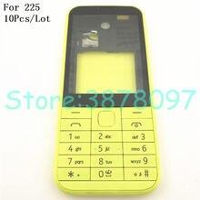 be487c173b6 10 unids/lote Original nuevo completa cubierta de la carcasa del teléfono  móvil + inglés teclado para Nokia Asha 225 N225 + logo.