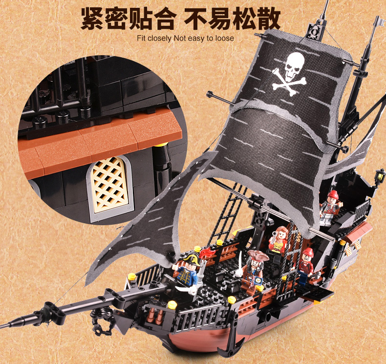 GUDI Pirates Ship 652pcs Bricks Black Pearl Building Blocks Sets ...