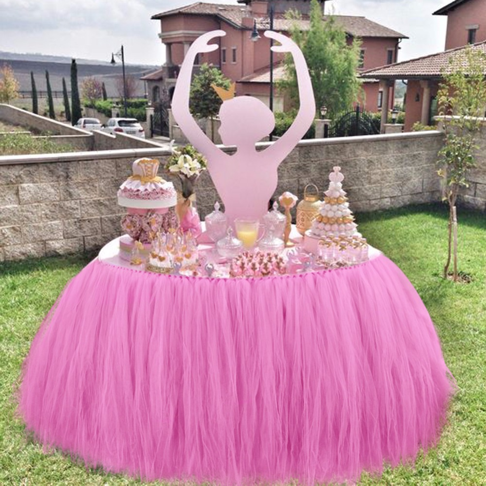 Baby Shower Table Decorations 100 80cm Tulle Table Skirt