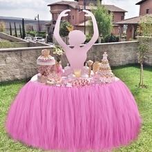 Baby Dusche Tischdekoration 100*80 CM Tüll Tabelle Rock Hochzeit Tisch Rock Birthday Party Tischdecke Qualität 6 Farben