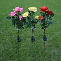 Comercio al por mayor 80 CM 3 simulación rosas solares luces decorativas al aire libre linterna solar del jardín lámpara de césped luz del césped