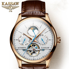 лучшая цена KASSAW Watch Men's Automatic Mechanical Watch Men Leather Waterproof Tourbillon Business Men's Watch Relogio Masculino