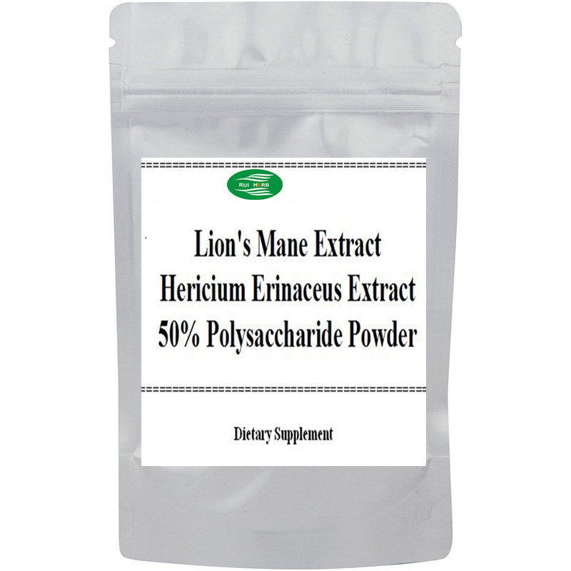 Lion's Mane Mushroom Extract Hericium Erinaceus Extract 50% Polysaccharide Powder bearded tooth mushroom extract powder capsules hericium erinaceus caps nutrition for stomach health care dietary supplements