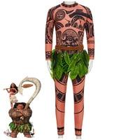 Cartoon Movie Moana Maui Cosplay Costume Adult and Kids Costume Halloween Carnival Top Full Sleeve Printed T shirt + Pants