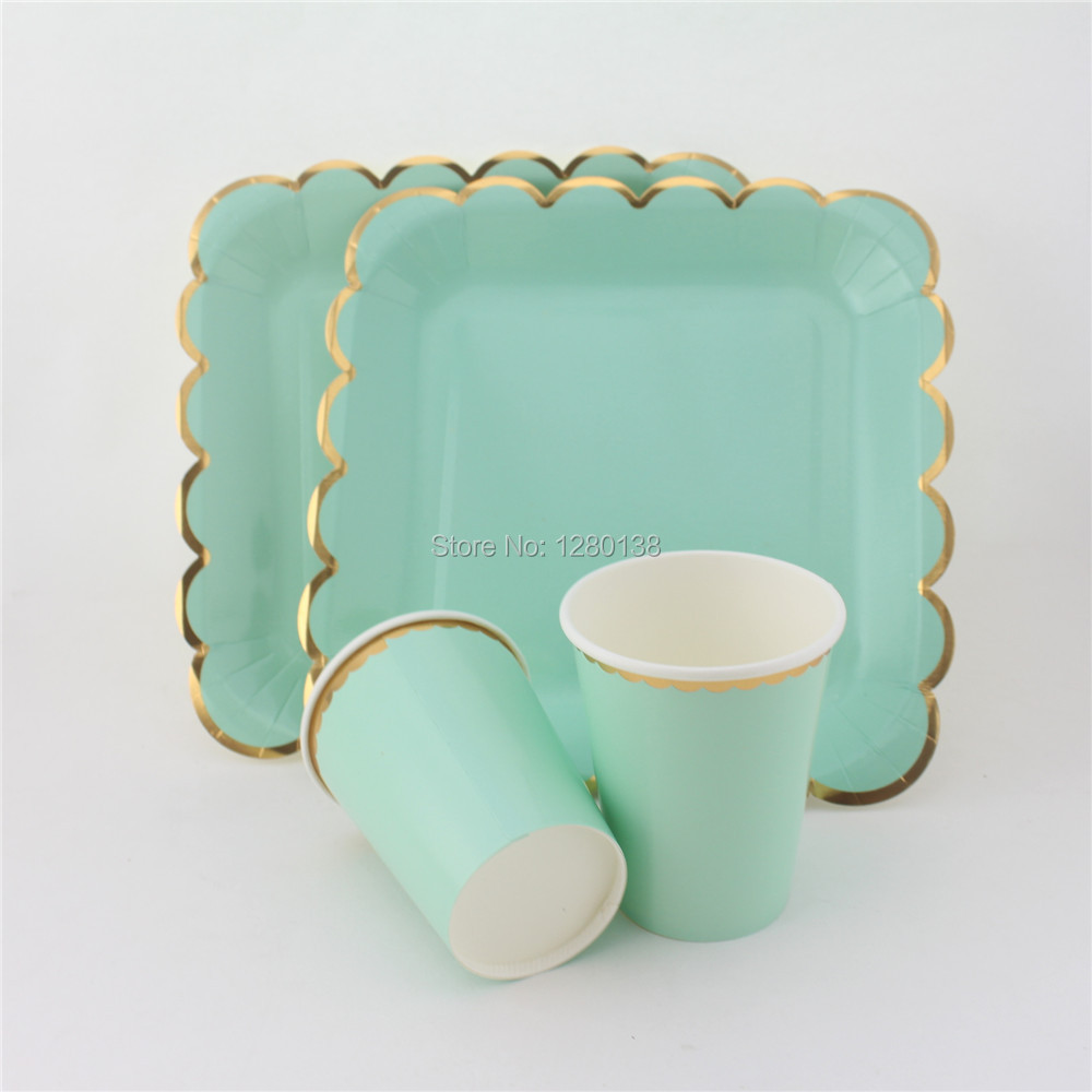 Ligt Pink Blue Mint <font><b>Yellow</b></font> Disposale Wedding Tableware Paper Plates Paper <font><b>Cups</b></font> Gold Foil Modern Chic Cocktail <font><b>Party</b></font>