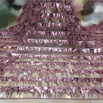 Madison 2019 high quality purple French sequence sequins net lace,African tulle mesh sequence lace fabric for party dress 5yards