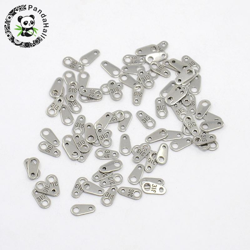 316 Stainless Steel Chain Tabs Jewelry Findings Stainless Steel Color, 7.5x4x0.8mm; about 200pcs/lot