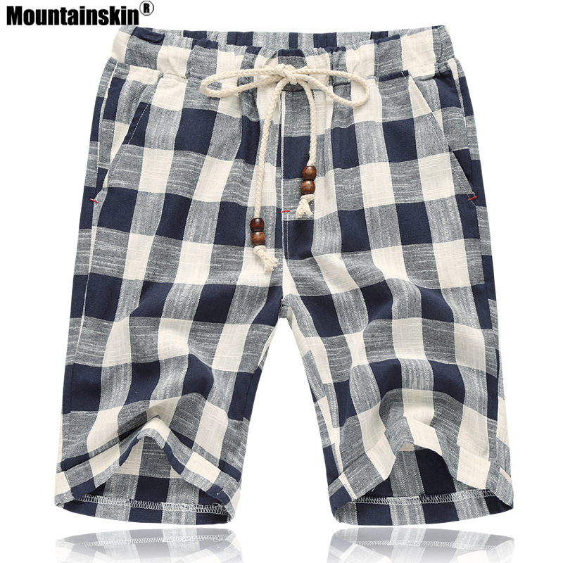 Mountainskin Summer Mens Casual Shorts Cotton Plaid Beach Shorts Men Fashion Short Male Sport Cool Brand Clothing 5XL SA664