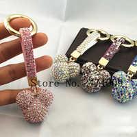 Fashion Rhinestone Mickey Head Luxury Crystal Leather Strap Llavero Alloy Car Keychain Key Chain Bag Charm Porte Clef  for Women