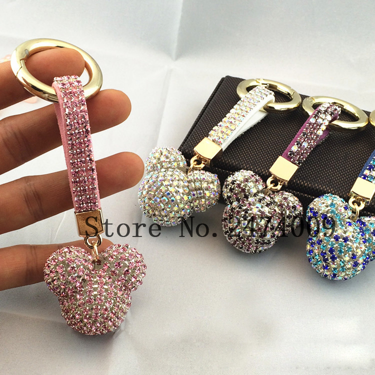Fashion Rhinestone Mickey Head Luxury Crystal Leather Strap Llavero Alloy Car Keychain Key Chain Bag Charm Porte Clef for Women image