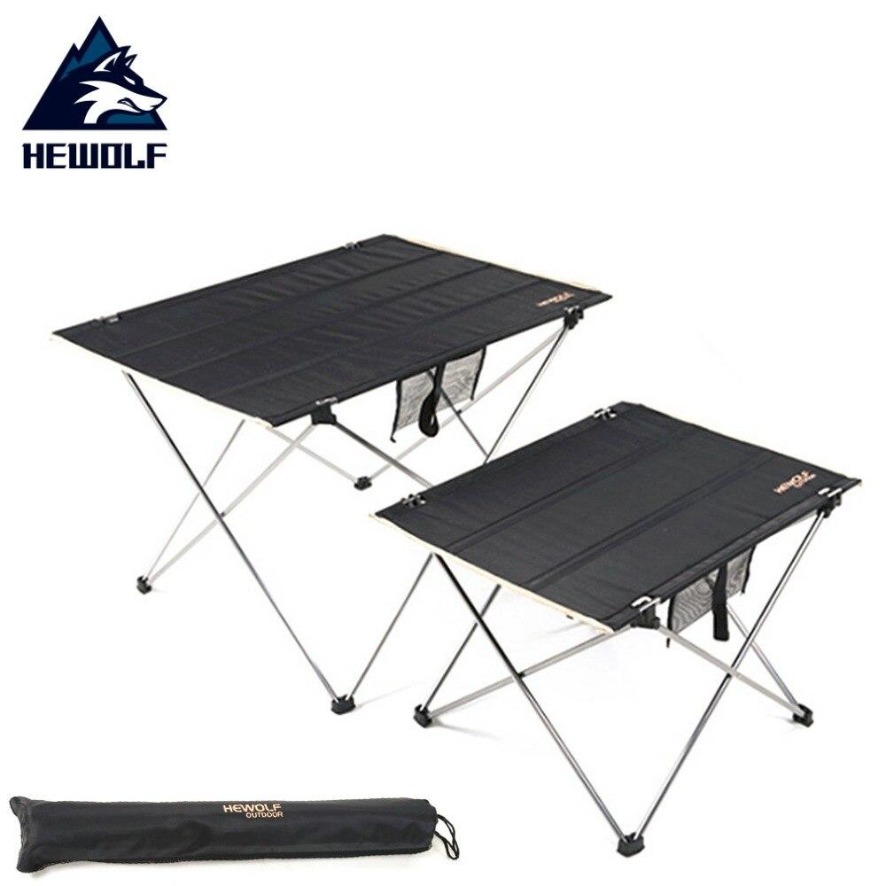 Table d'extérieur portable Hewolf en alliage d'aluminium ultra-légère table de pique-nique barbecue en toile Oxford pliante pour le camping