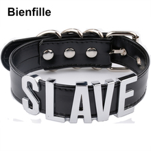 Fashion Gold Men Necklace Women Girl Silver Slave Name Word Customized Collar Buckle Necklace Black PU Leather Kawaii Jewelry