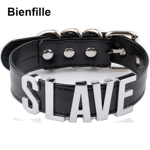Image 1 - Fashion Gold Men Necklace Women Girl  Slave Name Word  Collar Buckle Necklace Black PU Leather Kawaii Jewelry