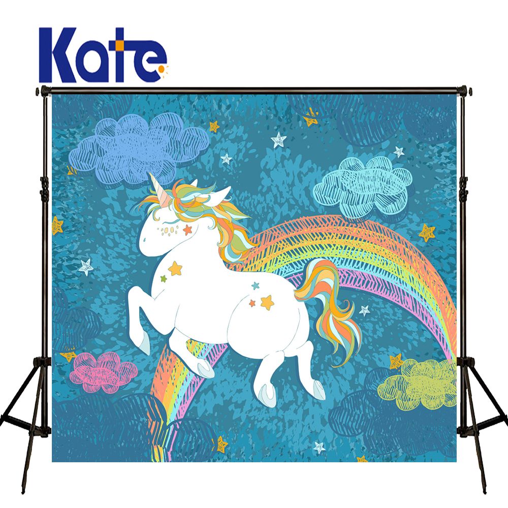 KATE Photography Background Kids Cartoon Backgrounds Children Unicorn Backdrop Newborn Blue Backdrop for Baby Photo Shoot Studio vinyl floral flower newborn backdrops cartoon unicorn photography background studio photo props 5x3ft