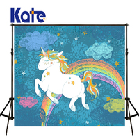 KATE Photography Background Kids Cartoon Backgrounds Children Unicorn Backdrop Newborn Blue Backdrop for Baby Photo Shoot Studio