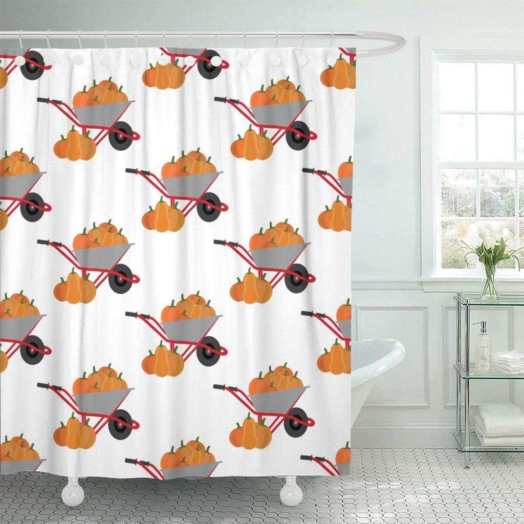 Us 17 48 30 Off Fabric Shower Curtain With Hooks Orange Fall Pumpkin Harvest Pattern White Autumn Food Gourd Halloween Holiday Nature Decorative In
