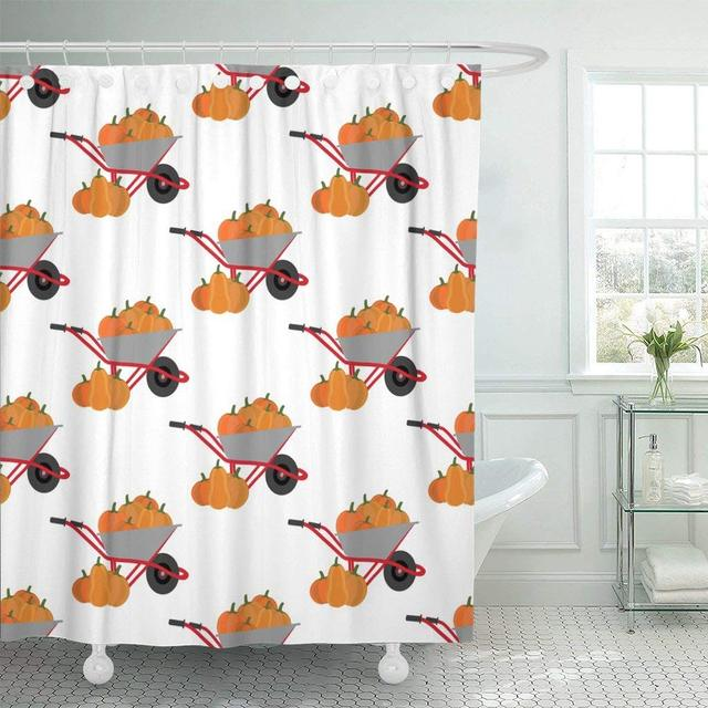 Fabric Shower Curtain With Hooks Orange Fall Pumpkin Harvest Pattern White Autumn Food Gourd Halloween Holiday