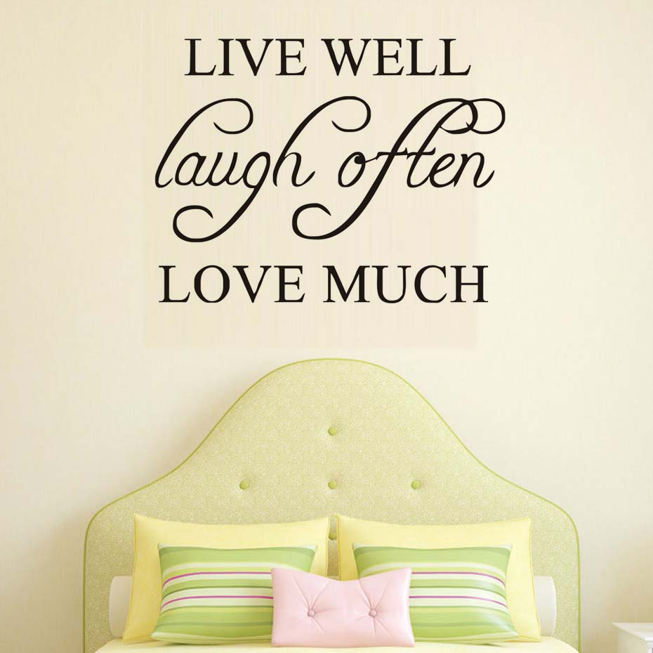 Live Well Laugh Often Love Much Simple Sentence Wall Sticker Pvc ...