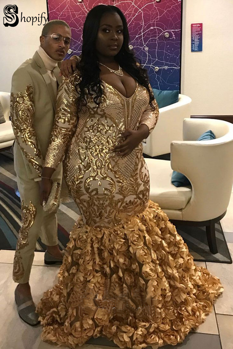 gold-sequin-and-3D-rose-long-sleeve-mermaid-plus-size-dress-2