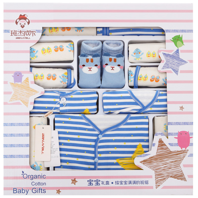 100% Cotton Newborn Clothes Set Baby Girl Clothes Fashion Striped Long Sleeve Baby Spring And Summer Five-pointed Star Baby Set