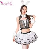 Feeetmoi Bunny Girl Sexy Lingerie Set Women Lace With Stockings Pleated Skirt Transparent Erotic Underwear Porn