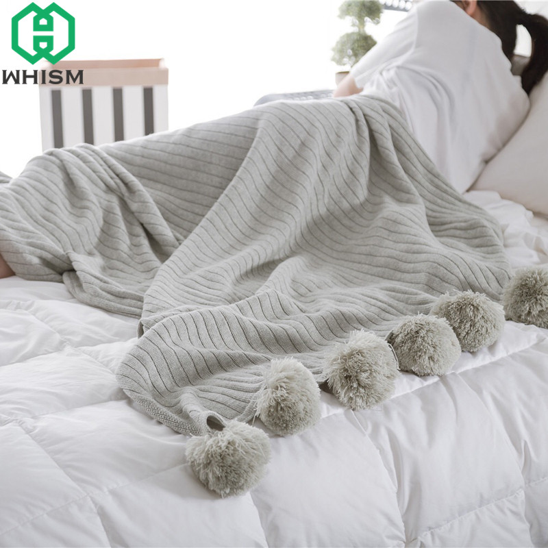 WHISM Soft Cotton Pompom Blanket Adults Crochet Thread Knitted Blankets Sleeping Bedspreads Air Conditioning Blanket For Babies