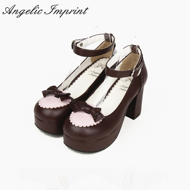 Lolita Maid Cosplay Girls Chunky Heel Ankle Strap Sweet Bowknot Shoes BLACK/PINK/BROWN lovely smilling kitty face faux wooden wedge lolita shoes ankle strap sweet pink girls shoes