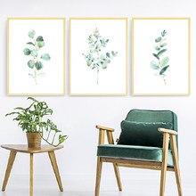 Eucalipto Acquerello Stampa Floreale Foglia di Botanico Verde Foglie di Arte della Tela di Canapa Pittura Verde Selvaggio Poster Casa Decorazione Della Parete di Arte
