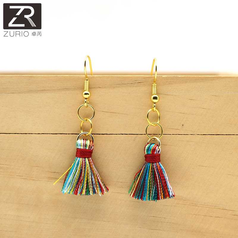Zurio Crazy Feng Handmade Tassel Earrings Trendy Long Dangles Ear Broncos Silk Fringed Jewellery For Women Cheap Price Gift