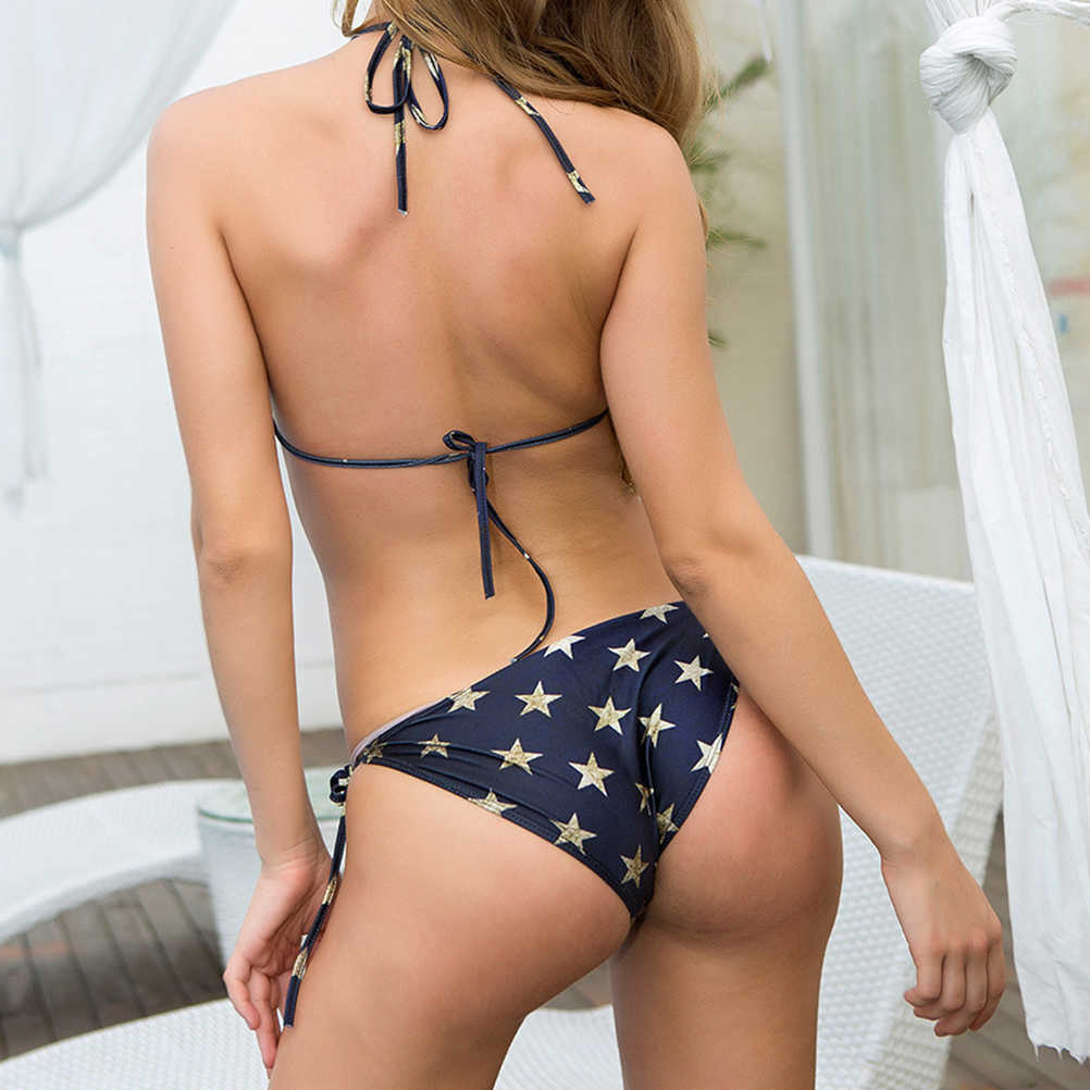 2 Pcs Women Bikini Set Fashion Hanging Neck American Flag Swimsuit Kit Bathing Suit Bikini Kit for Ladies Female Girls