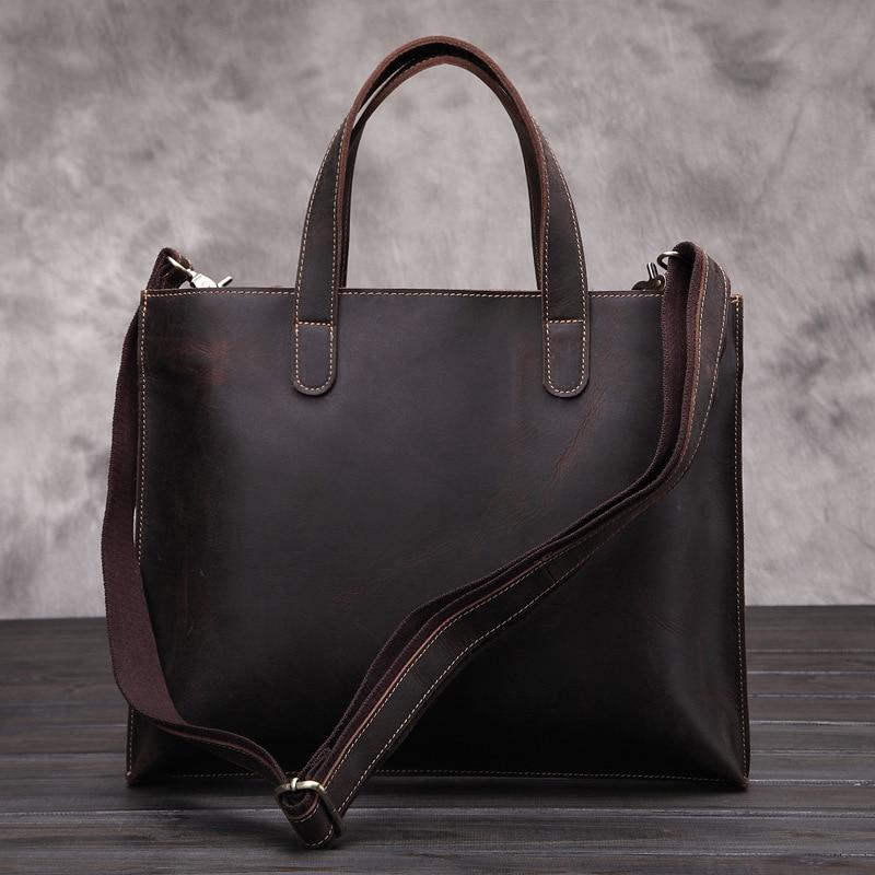 Men's Vintage Fashion Genuine Leather Shoulder Handbag Crossbody Sling Bag Tote Briefcase Portfolio iPad Bag For Male Man LS048