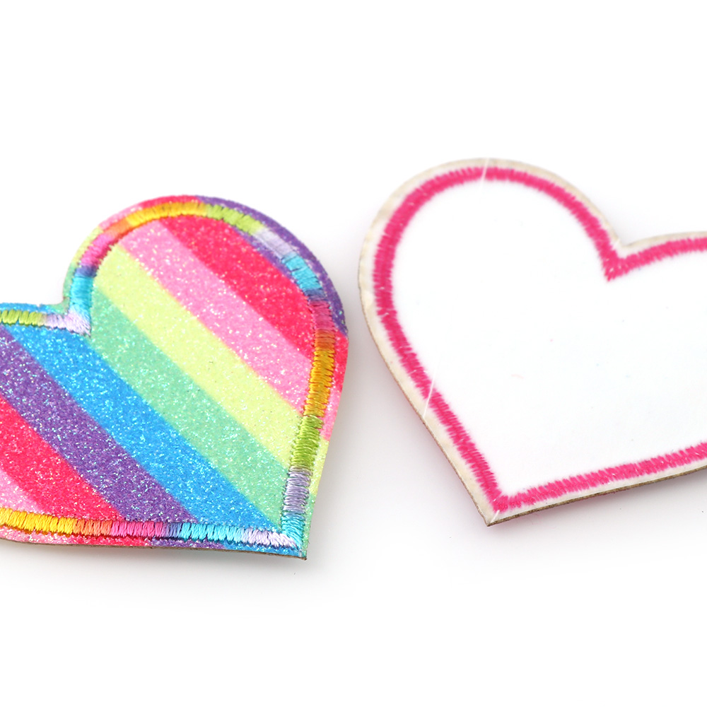 9//set Shining rainbow Love heart Embroidered iron on patches kids bulk Appliques