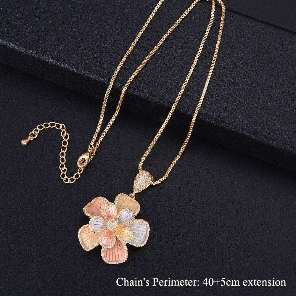 Missvikki Design Original grand pendentif fleur bijoux fins ensembles cristal brillant Vintage sculpté pour cadeau de fiançailles petite amie - 5