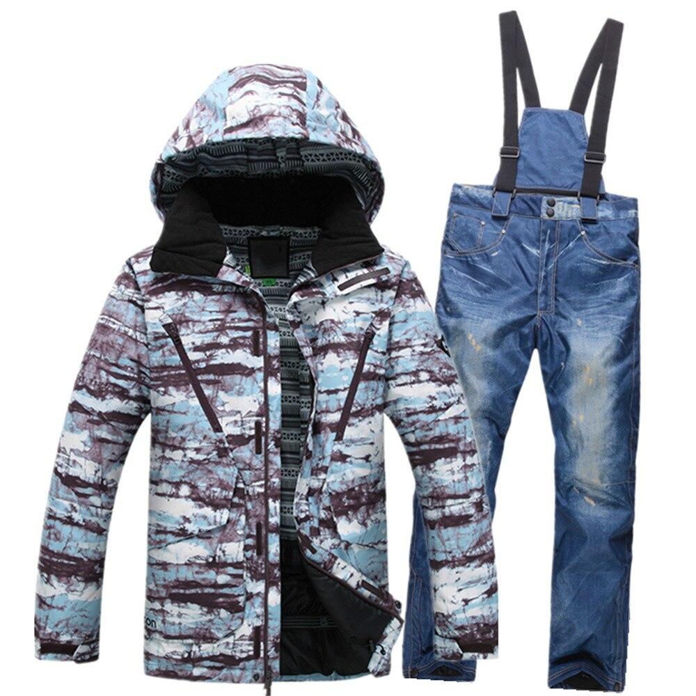Prix pour Hommes Snowboard Costume D'hiver Respirant Ski Vêtements Impression Mâle combinaison de Ski Coupe-Vent Imperméable Snowboard Veste + Neige Pantalon