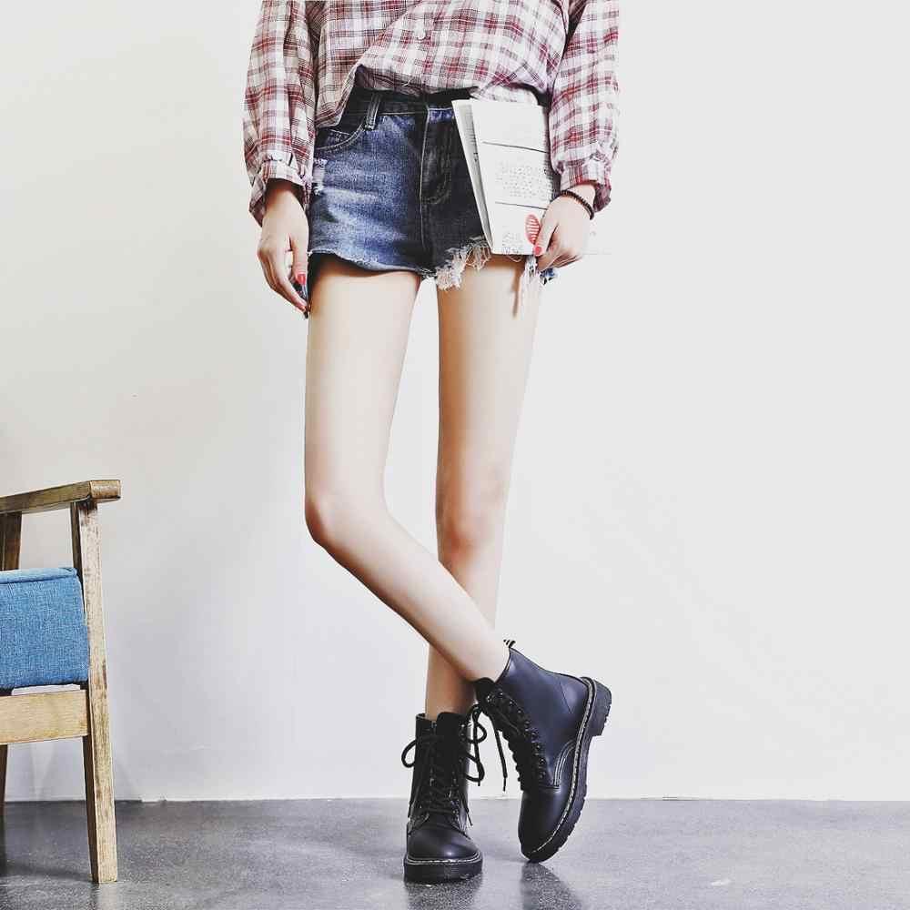 Kadın yarım çizmeler kış sıcak Binme Equestr Ayakkabı Kadın kürk Suni Deri bağcıklı ayakkabı platformu artı Boyutu 43 44