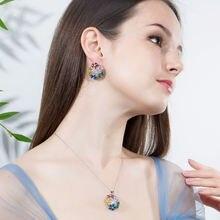 Модные свадебные разноцветные ожерелье и серьги для женщин
