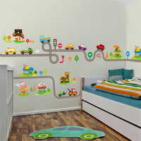 highway cars wall stickers for kids baby nursery children's play room bedroom home decor mural art pvc decals