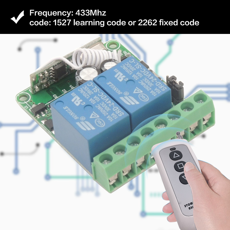 Image 3 - 433MHz Universal Remote Control rf Relay 12V 10A 2CH Receiver and transmitters for Garage Door Light Motor DIY Wireless Switch-in Remote Controls from Consumer Electronics