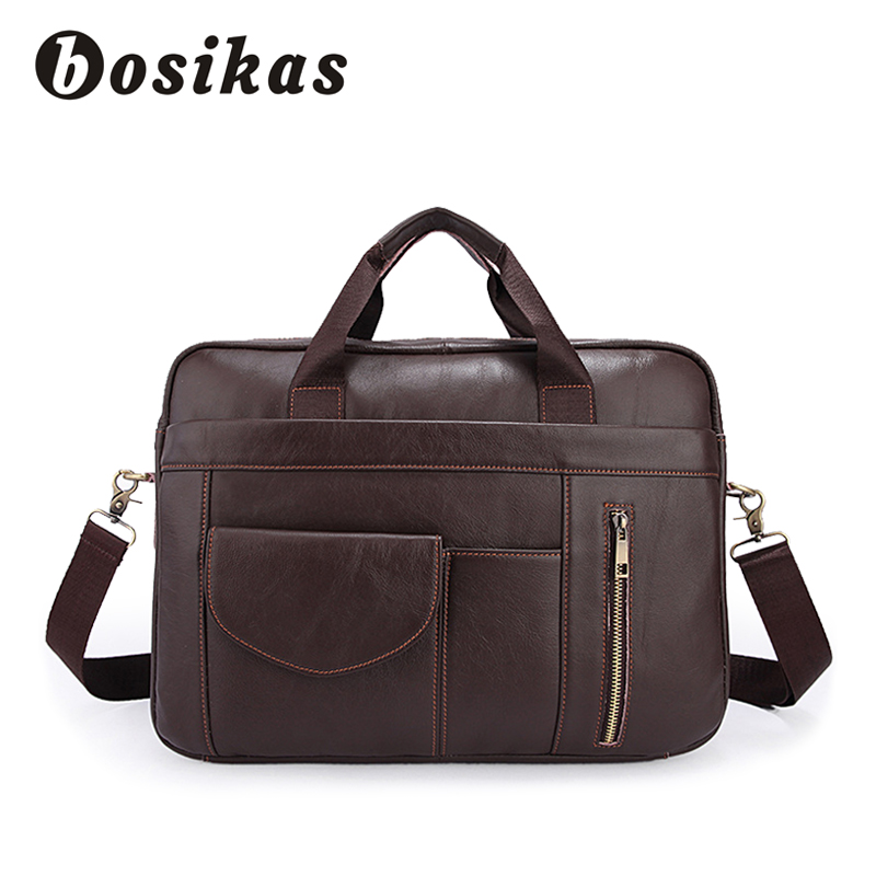 купить BOSIKAS Leather Laptop Bag 14inch Business Briefcase Handbags Totes Genuine Leather Shoulder Bags Work Document Bags Men Fashion недорого