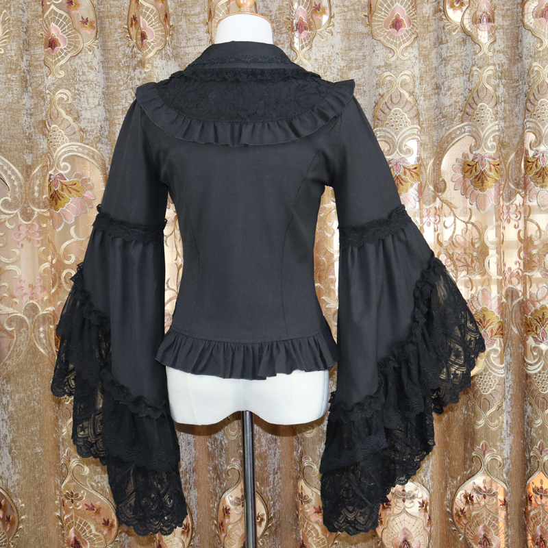 Palace Tiefem V ausschnitt Frauen Spitze Shirts Punk figurbetontes Sexy Shirts Langarm Schwarz Spitze Hemd Unterwäsche - 6