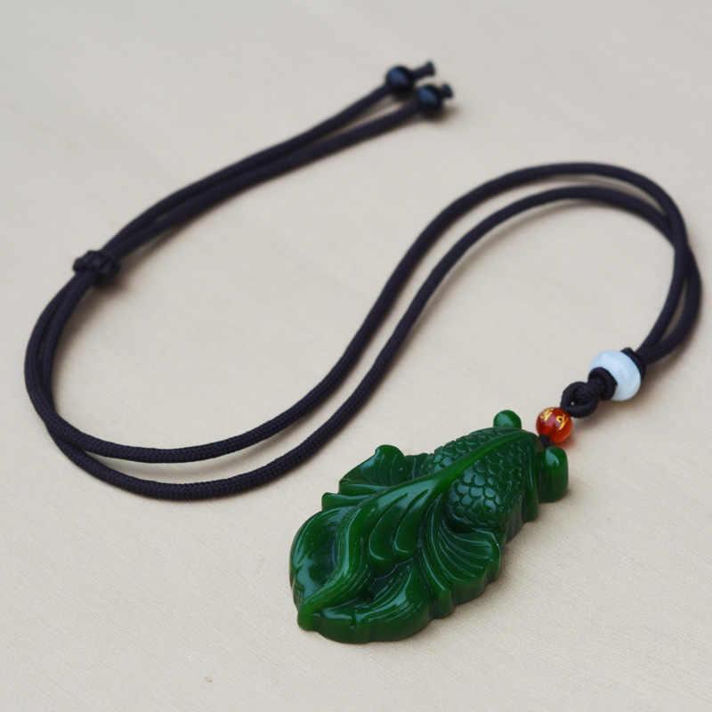 Natural hetian jasper pingente de peixe mão esculpida carpa nefrite pingente colar anexado cordão fino jade jóias