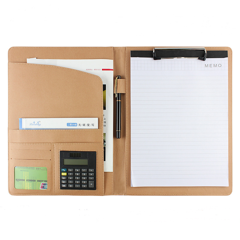 high quality PU leather A4 multi-function business office dedicated folder sales manager clip/signing this contract carpetas qshoic a4 multi function business manager clip to high grade leather with calculator folder file pu leather document folder