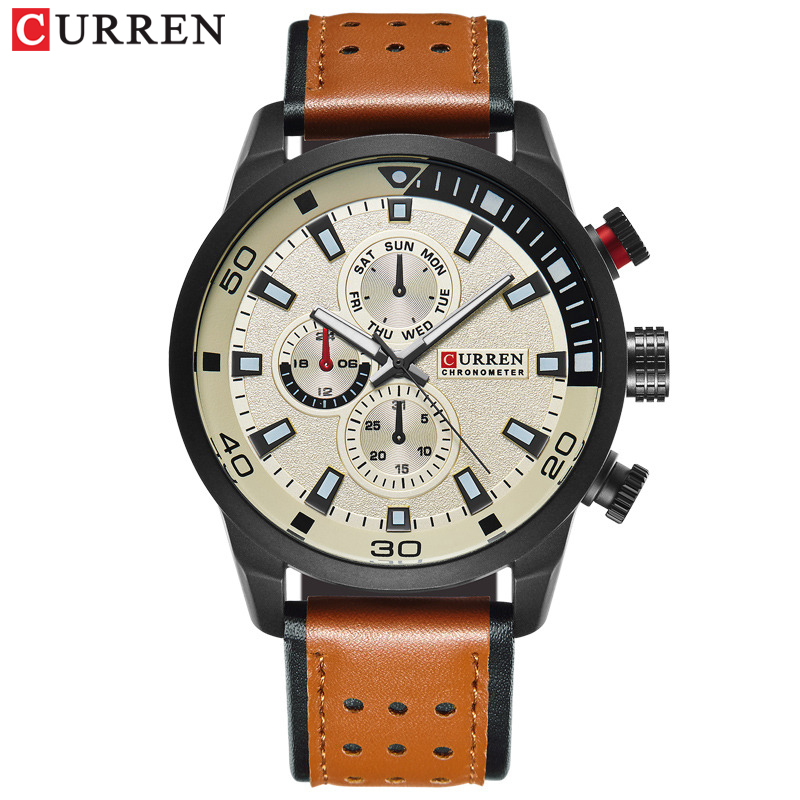 CURREN Casual Wrist Watch Analog Military Sports Men Watch Leather Strap Quartz Male Clock Relogio Masculino Reloj Hombre