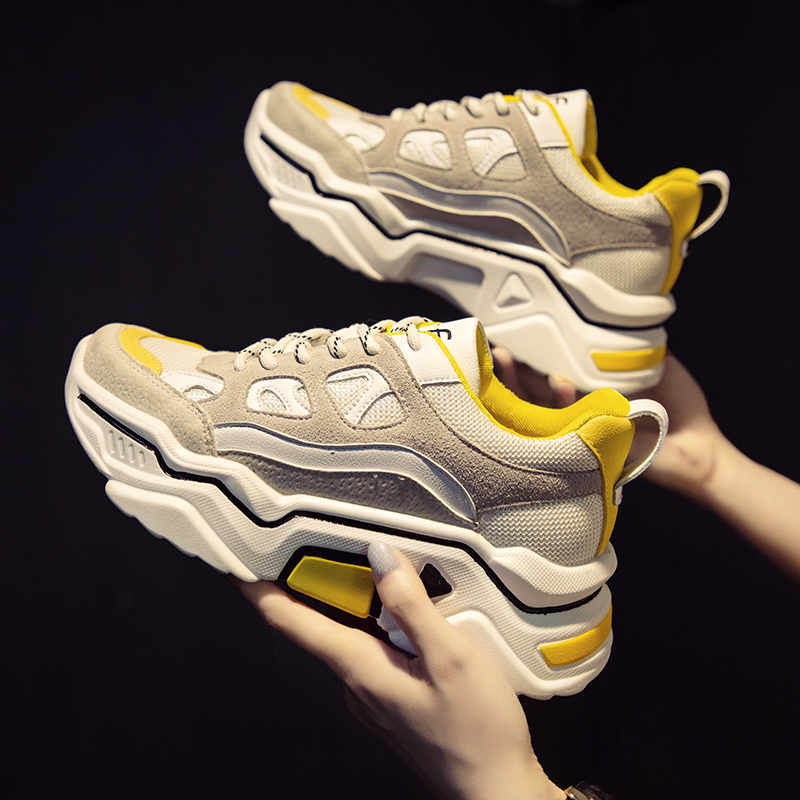 2019 Brand Yellow Sneakers Women Shoes Female Basket Femme Chunky Sneakers Designer Trainers Casual Shoes Chaussures K4-98