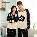 Pijamas Mulheres Amantes Sleepwear Homens de Algodão De mangas Compridas Sono Pullover Calças Casais Pajama Define Plus Size 3XL