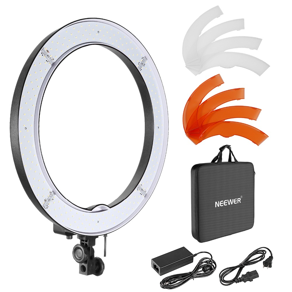 Neewer Caméra Photo/Vidéo 18 /48 cm Externe 55 w 240 pcs LED SMD Light Ring 5500 k Dimmable Anneau Vidéo Lumière + Couleur Filtes + Adaptateurs