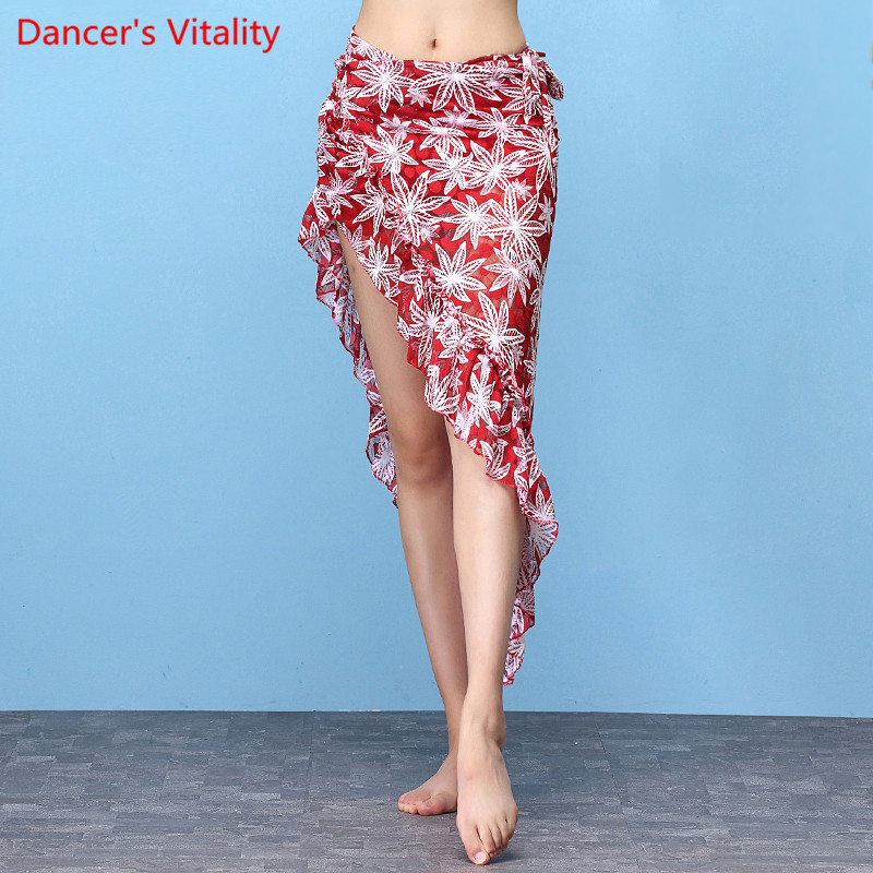 Belly Dance Long Skirt India Dancer Practice Print Scarf Hip Strap With Black Red  Underwear Free Shipping