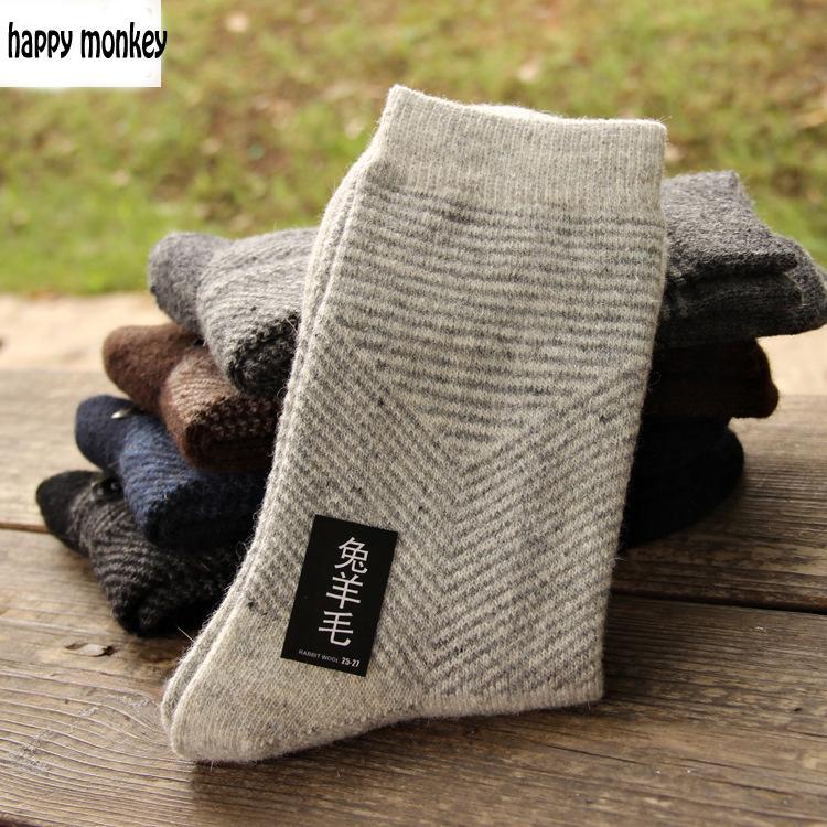 10 peças de 5 pares 2019 novo inverno meias quentes homem meias de lã de coelho meias masculinas para seta cor pura as meias de lã estendida
